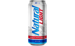 a blue and silver can of natural light beer