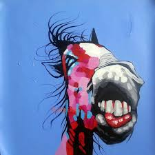 handmade blue paintings abstract funny animals picture modern landscape horse painting on canvas pictures wall art oil painting in painting calligraphy