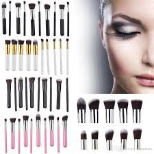 2016 new kabuki makeup brush tools makeup brushes set with retail box white black pink wood handle nylon hair kabuki set fast shipping best makeup s