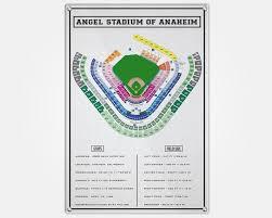 Angels Stadium Wood Print Stadium Seating Seating Chart Pop Art Wall Decor Man Cave La Angels Stadium Map Anaheim Ballpark