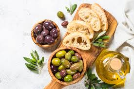 Olive Oak Size Chart Olives Ciabatta And Olive Oil On White Background