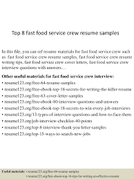 Fast Food Resume Sample top10000fastfoodservicecrewresumesamples10000lva100app61000092thumbnail100jpgcb=100100376375100003 31
