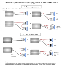 infographic diagram for how to bridge an amp and connect to speakers correctly