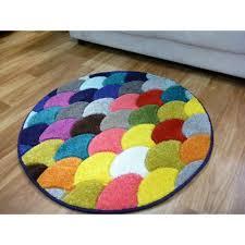 round floor area rug brightness 80cm circle dark turquoise light blue fish scales