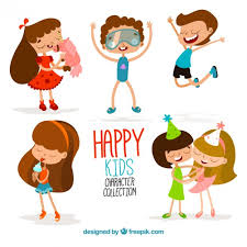 cartoon happy kids funny collection free vector