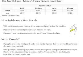 The North Face Glove Size Chart The North Face Mens Womens Guardian Etip Glove Ski Gloves Mittens In Black Small