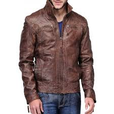 biker style men s distressed leather brown jacket
