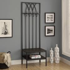 Metal Coat Rack Tree Mudroom Imposing Hall Tree Entry Way Stand Bench Buttom Bookshelf 45