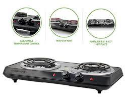 ovente countertop electric double coil burner adjustable temperature control
