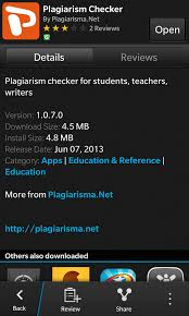 check out plagiarism checker by plagiarisma net for blackberry  if you ve ever had to turn in an essay or paper or write an article then you should be familiar turnitin com turnitin allows a student professor