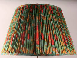 Blue Green With Red And Yellow Silk Lampshade