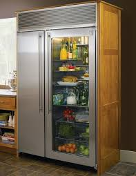 cool handle for glass door refrigerator in comfortable kitchen with wooden counter and grey countertop glassdoor