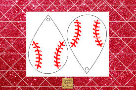baseball earrings template teardrop earrings faux leather example image 2