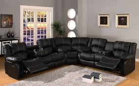 Black leather reclining sectional sofa