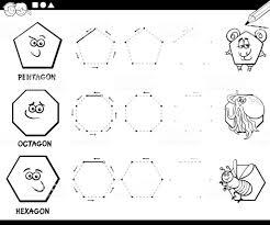 Geometrische Vormen Kleurplaat Pagina Tekenen Stockvectorkunst En
