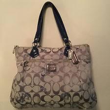 Coach Poppy 18711 Signature Metallic Blue Hearts Glam Tote Shoulder Bag