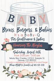 BABY-Q Invitation - Rustic, mason jars, floral, navy blue and coral
