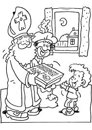 Kleurplaat Sinterklaas Geeft Een Spelletje Cadeau Kleurplaat