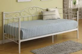 astounding furniture for space saving bedroom decoration using light blue stripe daybed bedding including light yellow bedroom wall paint and white metal