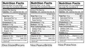 nutrition facts glazed pecans peanut brittle pistachios