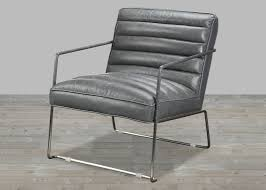 top grain leather grey club chair with stainless steel frame