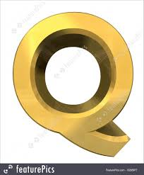 Letters and Numbers: Gold 3d letter Q - 3d made