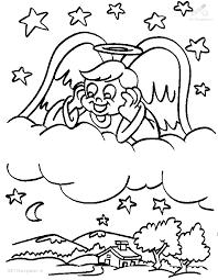 1001 Kleurplaten Kerst Engelen Kerst Engel Op Wolk