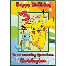 Personalised Pokemon Pikachu Inspired Birthday Card Boy