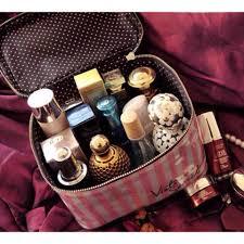 victoria s secret pink white stripe makeup organizer bag