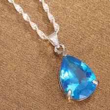 details about women jewelry fashion 925 silver huge sky blue topaz pendant necklace chain gift