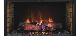 an electric fireplace insert with realistic logs and flames