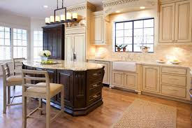 Kitchen Cabinet Color Schemes Two Pretty Chandelier Above The Island Dark Cabinets Color Schemes