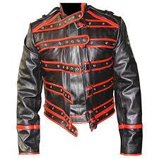 mens real black red leather rockstar fred mercury jacket wembley 86 fj1