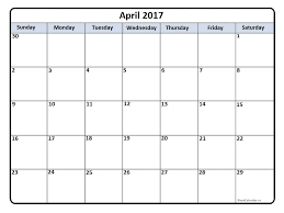 April 2017 Printable Calendar Printable Calendars Pinterest