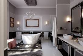 unique free standing bathtub feats with chandelier and elegant bathroom design large size