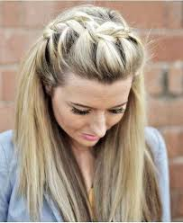 easy braided half up thick long hairstyle