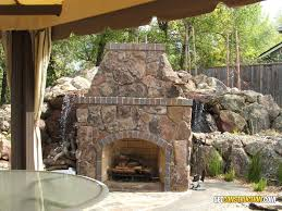 this 5 wide 6 tall outdoor fireplace in orangevale features coldwater canyon natural stone veneer with a clinker brick trim full masonry built to last