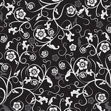 壁紙背景イラスト花の模様柄パターン No012白黒茎葉曲線