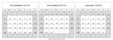 Blank Dec 2020 Calendar Nov Dec 2019 Jan 2020 Calendar Three Month Calendar