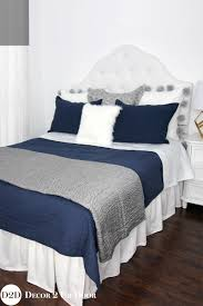navy grey white custom designer apartment bedding collection