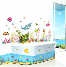 breathtaking kids bathroom wall decor cartoon underwater world fish shark fish wall decals stickers for kids rooms bathroom wall decor kids children gift in