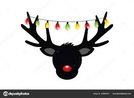 Reindeer Silhouette Lights Reindeer Head Silhouette With Red Nose And Christmas Lights
