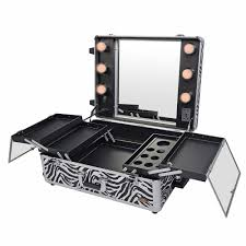studio to go makeup case with light pro makeup station zebra fully open