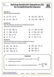 solving quadratic equations free printable maths worksheet year 7 maths worksheets