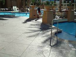pool deck thin stamp concrete