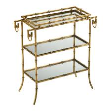 hollywood regency mirrored furniture. Hollywood Regency Gold Leaf Gilt Bamboo Mirror End Table   Kathy Kuo Home Mirrored Furniture K