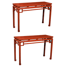 lacquered furniture. pair of chinese red lacquered console tables 1 furniture g