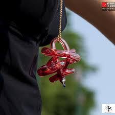 vitruvio design w heart glass pendant ciondolo w heart vetro