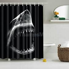 bathroom shower curtain waterproof liner decor 12pcs c hooks shark head