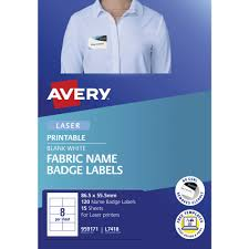 Avery 8up Fabric Laser Name Badge Labels 15 Sheets